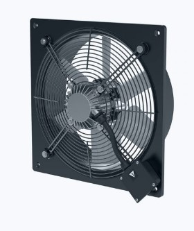 Axial wall fan with compact motor