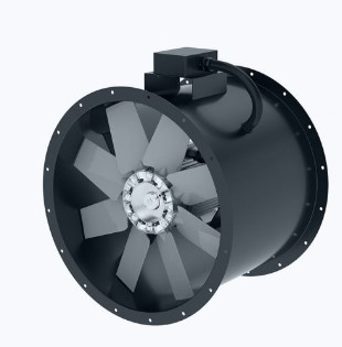 Axial duct fan with norm motor