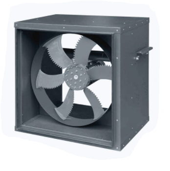 Axial box fan for smoke exhaust