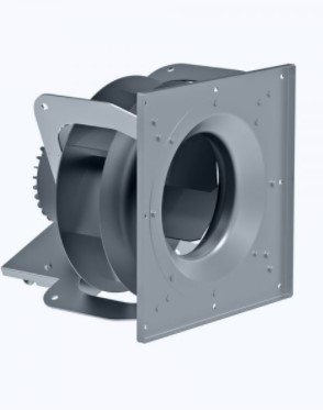 Plug fan with EC brushless motor and backward curved blades