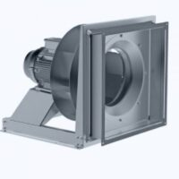 Plug fan with norm motor and backward curved blades