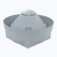 Centrifugal roof fan with norm motor and vertical outlet