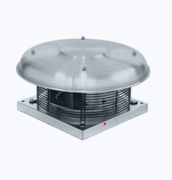Centrifugal roof fan with external rotor motor and horizontal outlet