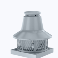 Centrifugal roof fan for high temperatures and horizontal outlet