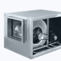 Centrifugal inline ATEX fan with backward curved blades