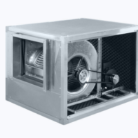 Centrifugal box fan with belt drive and forward curved blades