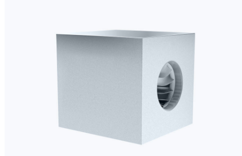 Centrifugal box fan with backward curved blades