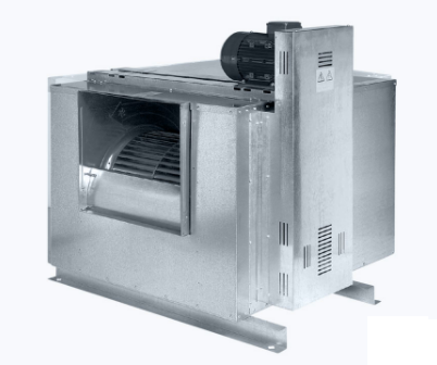 Centrifugal box fan for high temperatures indirectly driven with forward curved blades