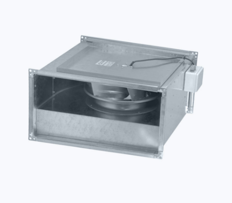 Rectangular inline fan with backward curved blades
