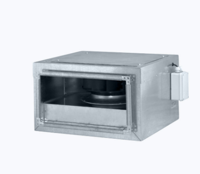 Rectangular silent inline fan with backward curved blades