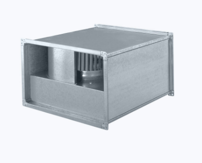 Inline fan rectangular with forward curved blades