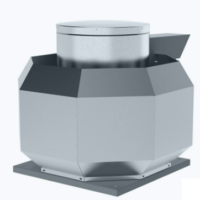 Centrifugal roof fan for high temperatures and vertical outlet